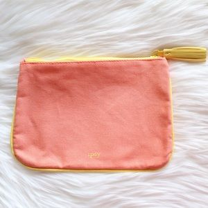 NWOT Ipsy Cosmetics Bag Orange w/Yellow Trim